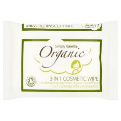 Simply Gentle Organic 3 in 1 Cosmetic Wipes 25 st