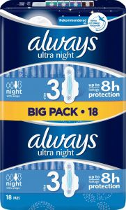 Always Ultra Night Pads Wings 18 st