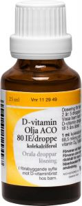 D-vitamin ACO olja orala droppar 80IE/droppe 25 ml