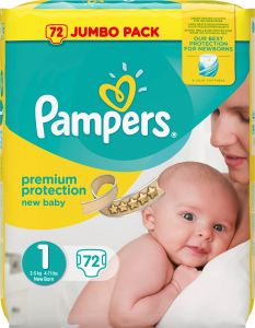 Pampers Premium protection S1 (2-5kg) 72 st